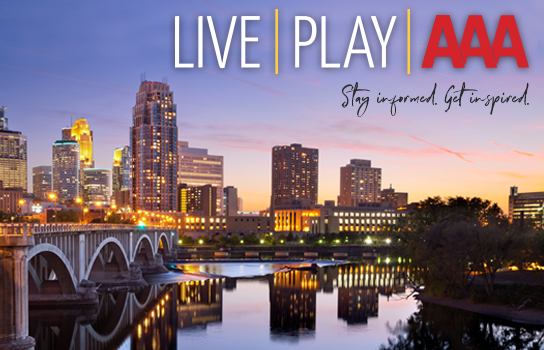 Minneapolis skyline at sunset - LIVE PLAY AAA - Official Publication of AAA Minneapolis